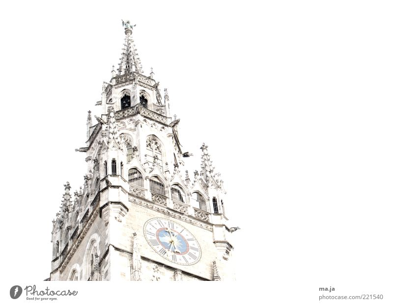 Old White Architecture Building Germany Gold Clock Europe Tower Munich Historic Clock face Landmark Tourist Attraction Section of image