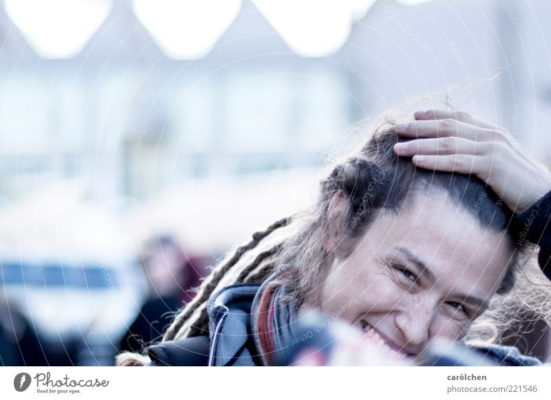 Human being Hand Youth (Young adults) Blue Feminine Laughter Adults Open Friendliness Smiling Timidity Woman Dreadlocks Young woman Emotions Portrait photograph