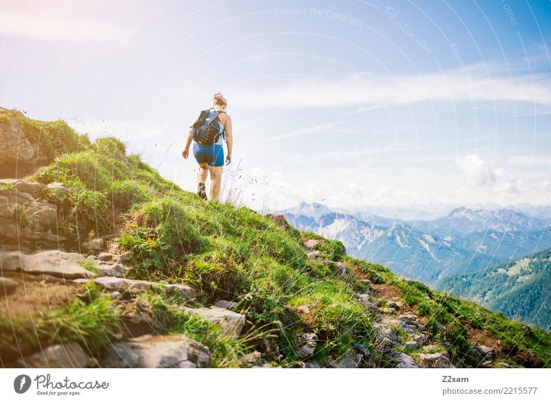Nature Vacation & Travel Youth (Young adults) Young woman Summer Landscape Calm Mountain 18 - 30 years Adults Grass Above Rock Going Leisure and hobbies Hiking