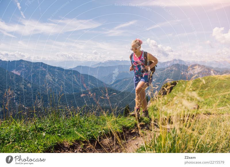 Sky Nature Vacation & Travel Youth (Young adults) Young woman Summer Beautiful Sun Landscape Relaxation Mountain 18 - 30 years Adults Feminine Sports Grass