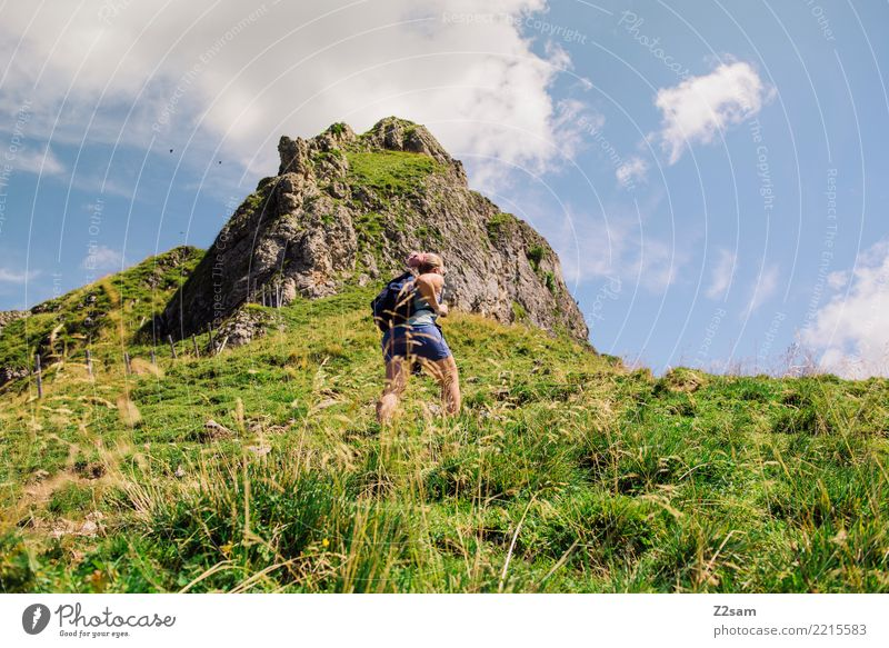 Ascent to the Upper Bavarian Rotwand (Alps) Hiking Young woman Youth (Young adults) 18 - 30 years Adults Nature Landscape Sky Summer Beautiful weather Mountain
