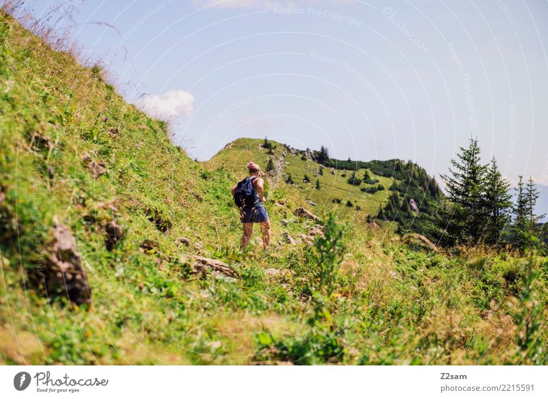 Ascent to the Rotwand in Upper Bavaria Hiking Young woman Youth (Young adults) 18 - 30 years Adults Landscape Beautiful weather Meadow Alps Mountain Backpack