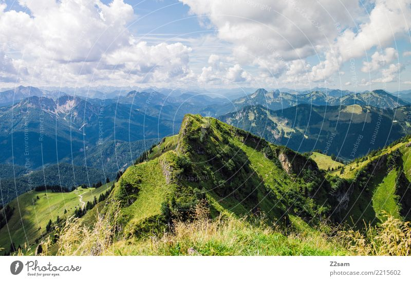 Sky Nature Vacation & Travel Blue Summer Green Landscape Clouds Calm Far-off places Mountain Environment Natural Hiking Esthetic Idyll