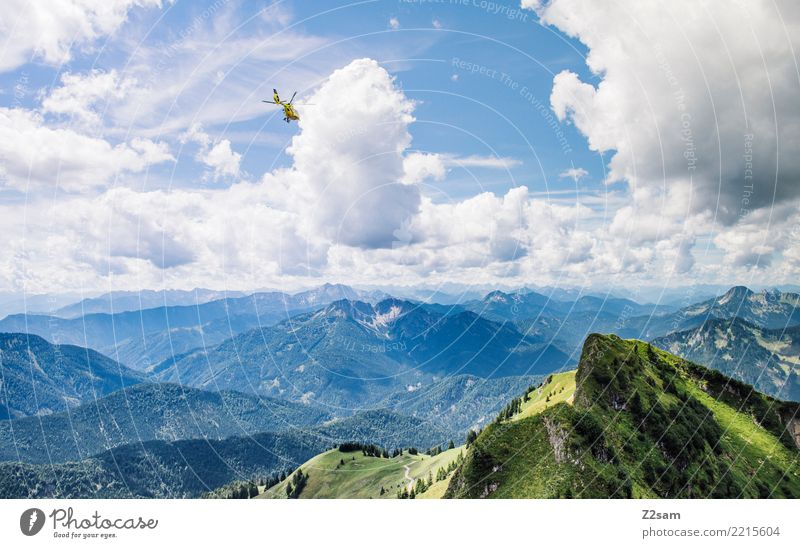 Helicopter operation in the Upper Bavarian Alps Hiking Nature Landscape Summer Beautiful weather Mountain Peak Flying Esthetic Gigantic Blue Green Calm