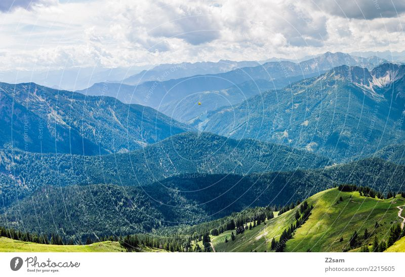 Mountains in the Bavarian Oberland Nature Landscape Sky Clouds Summer Climate Beautiful weather Alps Esthetic Natural Juicy Green Moody Relaxation Colour