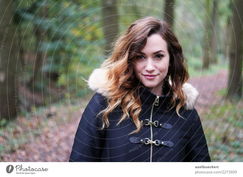 young woman in the autumn forest Lifestyle Leisure and hobbies Winter Human being Feminine Young woman Youth (Young adults) Woman Adults 1 18 - 30 years Nature