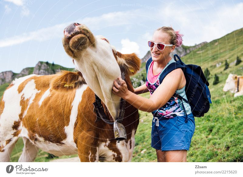 cow cuddles Vacation & Travel Trip Mountain Hiking Young woman Youth (Young adults) 18 - 30 years Adults Nature Landscape Beautiful weather Meadow Alps