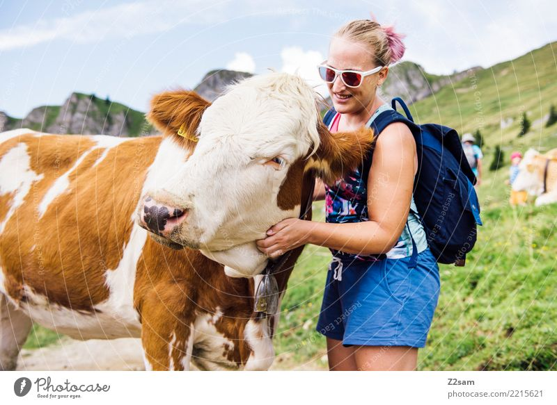 Nature Youth (Young adults) Young woman Summer Green Landscape Relaxation Mountain 18 - 30 years Adults Laughter Happy Hiking Blonde Idyll To enjoy