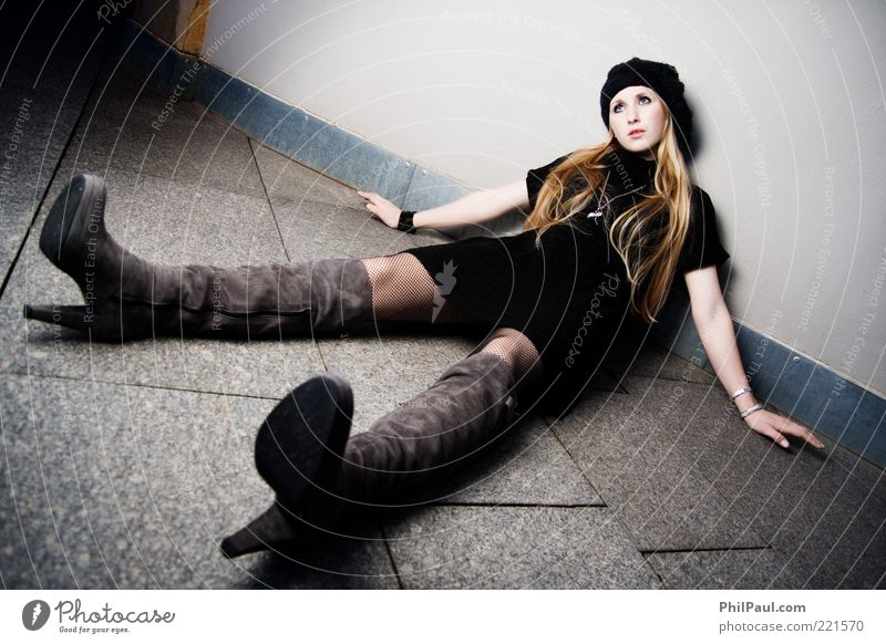 Human being Youth (Young adults) Beautiful Calm Adults Feminine Wall (building) Style Stone Legs Fashion Art Blonde Sit Lie Ground