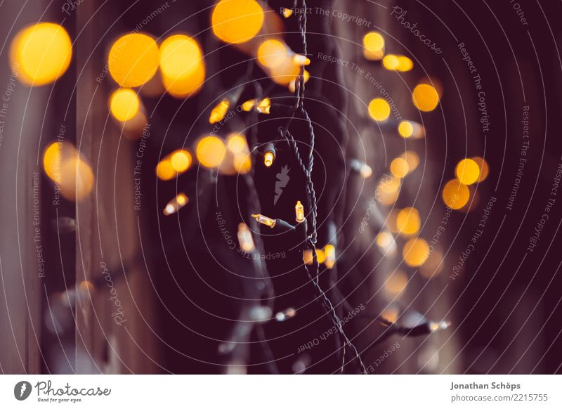 Chain of Lights II Abstract Christmas & Advent Blur Gold Yellow Decoration Shallow depth of field Bright Night Orange Colour Feasts & Celebrations Glittering