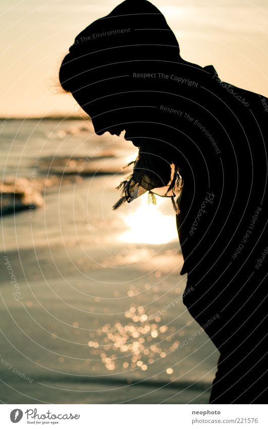 silhouette Head Hair and hairstyles Joy Happy Beach Ocean Sunset Reflection Water Contentment Relaxation Vacation & Travel Subdued colour Exterior shot Light