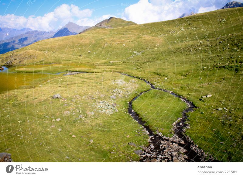Nature Water Sky Green Summer Far-off places Cold Meadow Grass Mountain Freedom Landscape Wet Island Climate Alps