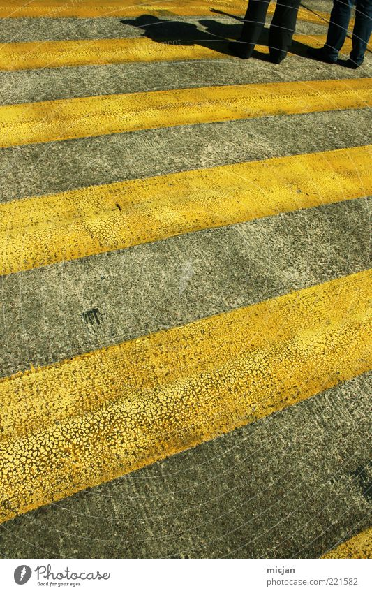 In an infinite World Why don't we stop here? Legs Traffic infrastructure Pedestrian Stand Wait Threat Gloomy Zebra crossing Yellow Pavement Asphalt Colour