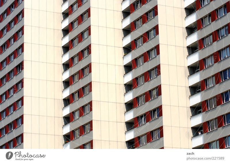 live better Germany Town House (Residential Structure) High-rise Architecture Prefab construction Facade Window Sharp-edged Large Red White Loneliness
