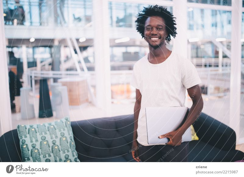 Portrait of afro American adult in the office Youth (Young adults) Man Face Adults Lifestyle Emotions Business Work and employment Office Technology Success