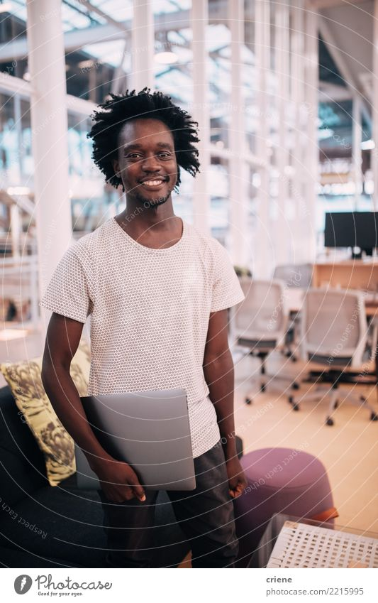 Portrait of smiling confident afro american adult in the office Lifestyle Happy Success Internship Work and employment Office Financial Industry Business
