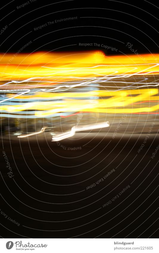 Speed of Light Deserted Movement Illuminate Blue Yellow Red Black Line Colour photo Exterior shot Experimental Abstract Light (Natural Phenomenon) Long exposure
