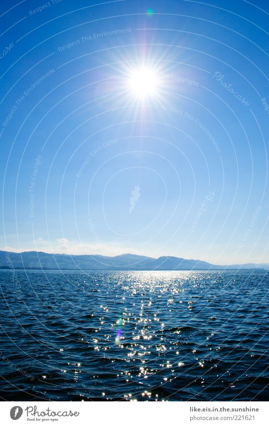 Water Beautiful Sun Ocean Blue Summer Vacation & Travel Far-off places Relaxation Mountain Freedom Lake Landscape Waves Glittering Horizon