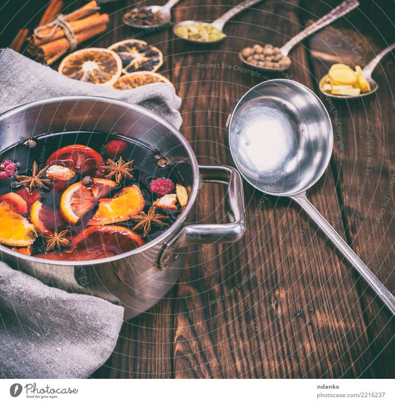 mulled wine in a pan Christmas & Advent Red Dish Wood Feasts & Celebrations Above Table Herbs and spices Beverage Hot Tradition Cooking Alcoholic drinks Sugar