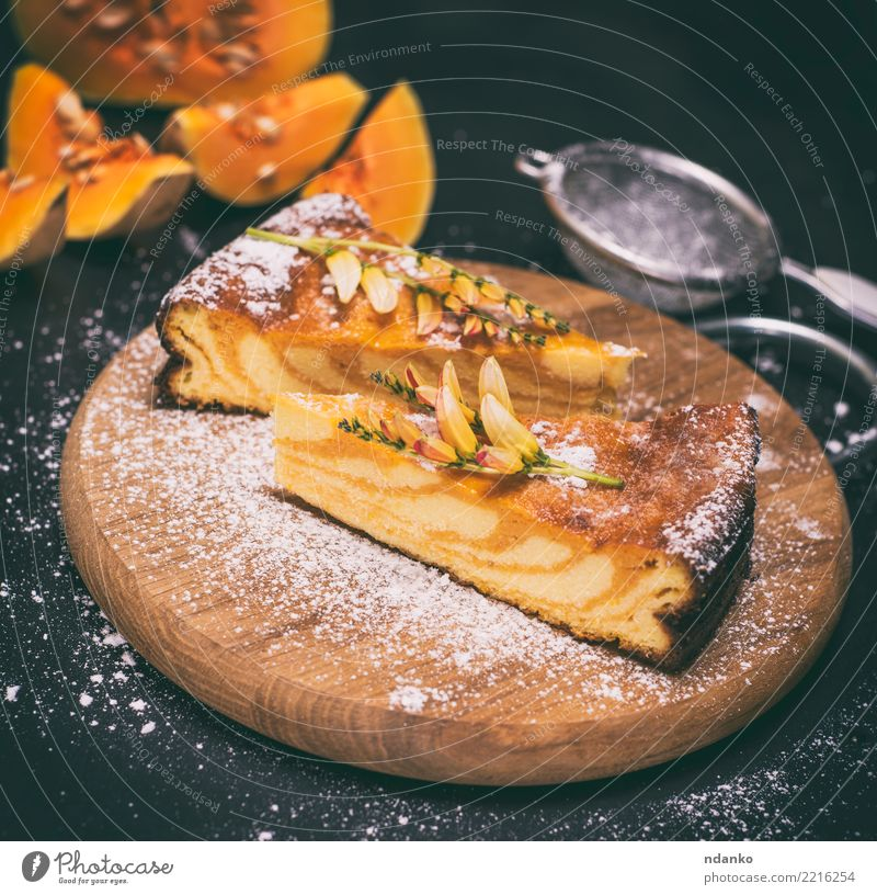 pumpkin pie Green Black Natural Wood Nutrition Fresh Table Cooking Kitchen Delicious Vegetable Candy Tradition Dessert Baked goods Dinner