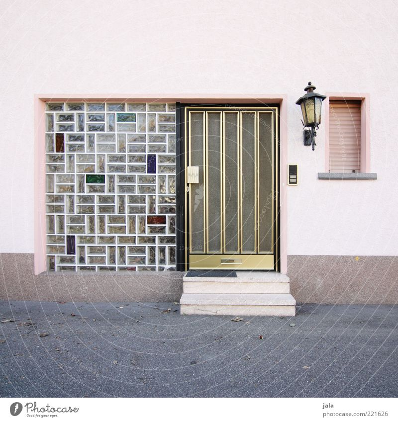 entrance House (Residential Structure) Manmade structures Building Wall (barrier) Wall (building) Stairs Facade Window Door Lantern Retro Pink Glass block