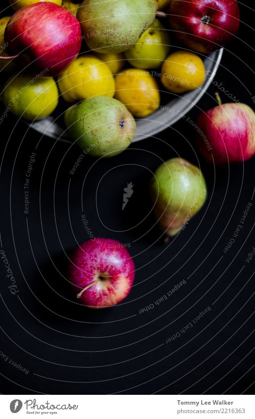 Autun fruits: pears, apples and quinces top view Fruit Apple Nutrition Breakfast Vegetarian diet Diet Juice Plate Bowl Life Summer Group Nature Autumn Fresh