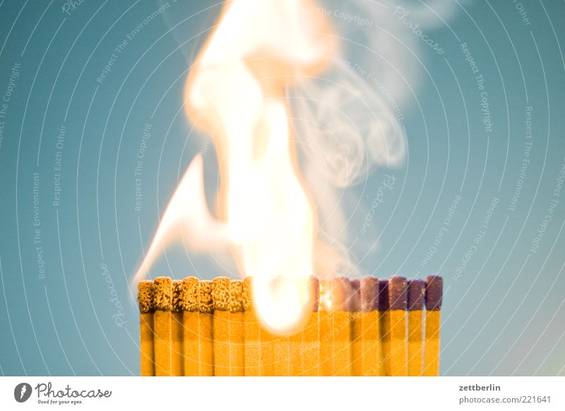 Fire 5 Blaze Match Flame Burn Pyrotechnics Ignite Interior shot Smoke Exhaust gas Smoking Threat Dangerous Bright Combustible Neutral Background Copy Space top