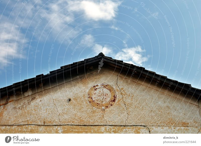 neoclassical house roof Sky Old Clouds Architecture Stone Building Perspective Retro Roof Derelict Tile Decline Ruin Crack & Rip & Tear Surface Symmetry