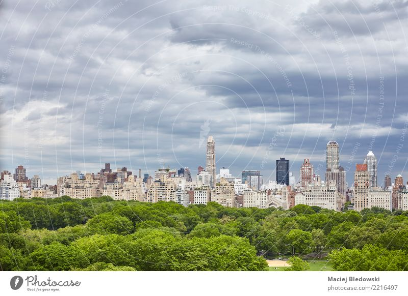 Stormy clouds over Central Park, NYC. Sky Summer Tree Building Business Flat (apartment) Living or residing High-rise Elegant Vantage point Success USA
