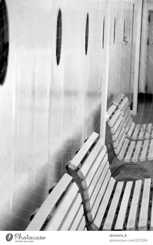 benches Ferry Watercraft Porthole Metal Steel Stripe Black White Symmetry window Deck Bench Background picture nobody Minimal Industrial vessel marine iron row