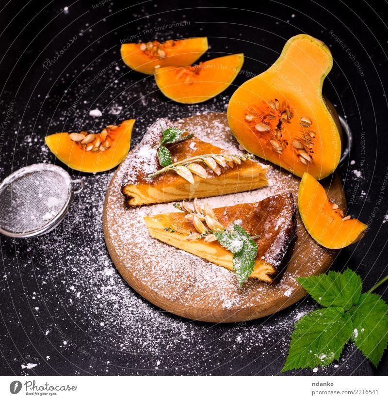 pumpkin pie Green Leaf Black Eating Autumn Natural Wood Orange Fresh Kitchen Delicious Vegetable Tradition Cake Dessert Baked goods