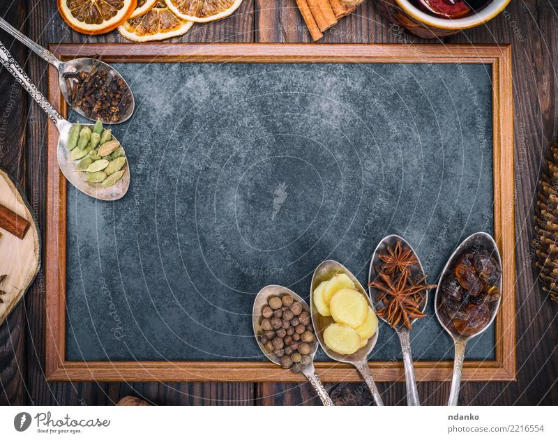 empty black chalkboard and spices Black Wood Food Brown Above Retro Herbs and spices Beverage Alcoholic drinks Sugar Spoon Festive Rustic Ingredients Cinnamon