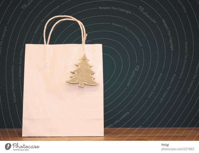 Paper bag with wooden fir tree pendant in front of dark background Feasts & Celebrations Stand Esthetic Beautiful Uniqueness Modern Blue Brown Silver White