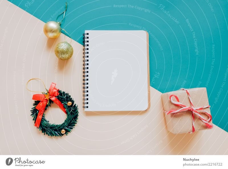 blank notebook mock up with christmas ornaments Christmas & Advent Winter Style Happy Feasts & Celebrations Design Bright Decoration Modern Vantage point