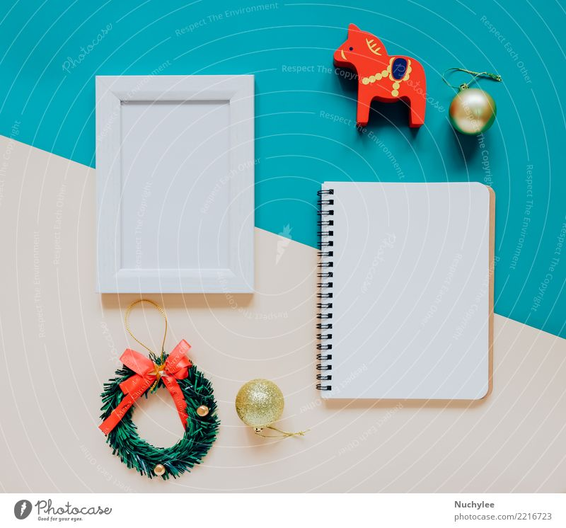 Creative flat lay of craft and photo frame Christmas & Advent Winter Style Happy Feasts & Celebrations Design Bright Modern Decoration Vantage point Creativity