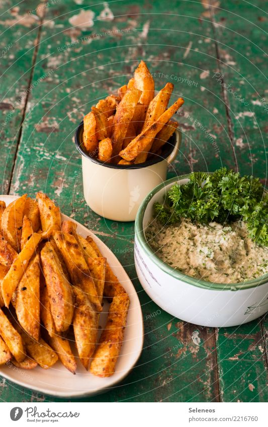 sweet potato chips Food Vegetable French fries Dip Parsley Nutrition Eating Organic produce Vegetarian diet Fast food Snack Fresh Healthy Delicious Colour photo