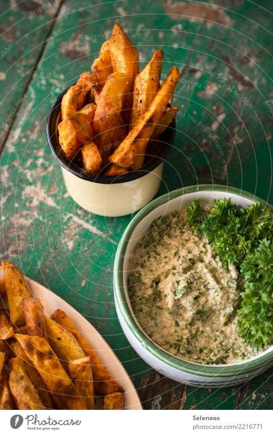 sweet potato chips Food Dairy Products Vegetable Potatoes French fries Dip Parsley Nutrition Eating Organic produce Vegetarian diet Slow food Snack To enjoy