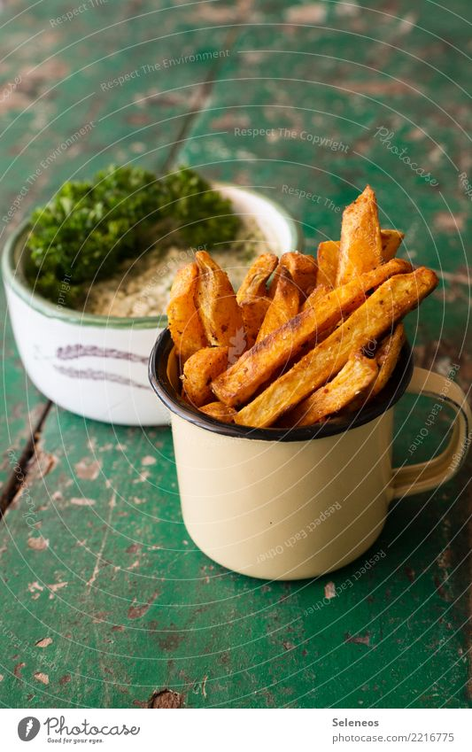 French fries salad Food potatoes Parsley Dip Nutrition Eating Organic produce Vegetarian diet Snack To enjoy Fresh Healthy Delicious sweet potato