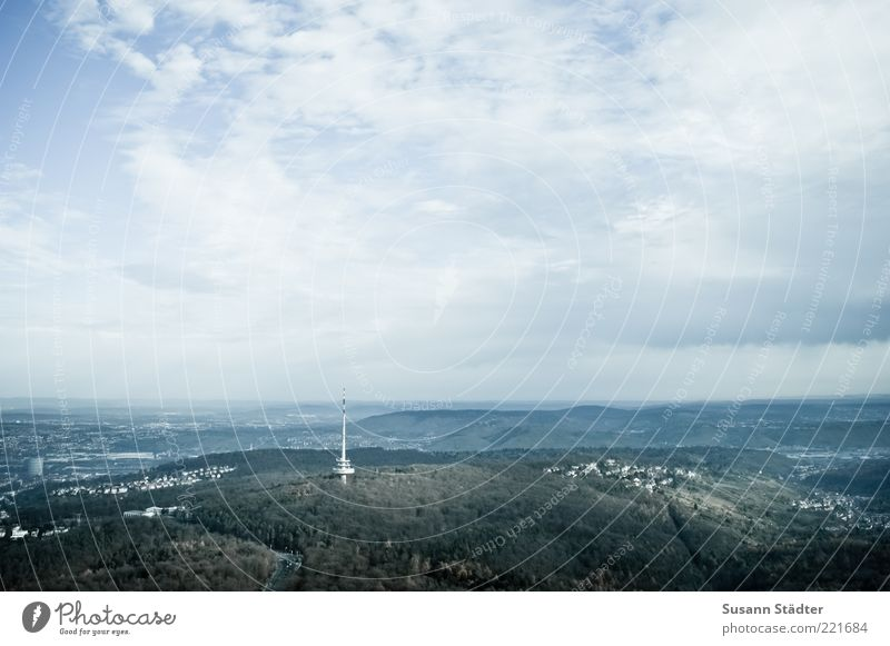 Sky over Stuttgart Earth Clouds Beautiful weather Forest Vacation & Travel Tower Broadcasting tower Television tower Mountain Black Forest Settlement