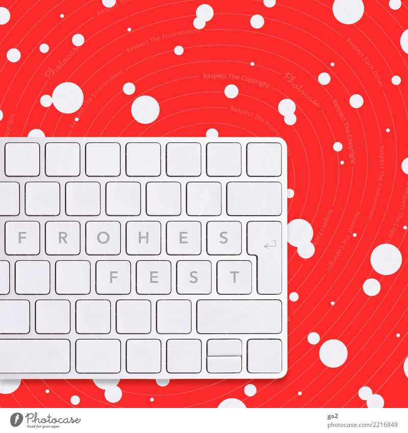 Christmas & Advent White Red Winter Snow Design Snowfall Office Characters Technology Creativity Computer Internet Information Technology Keyboard Workplace