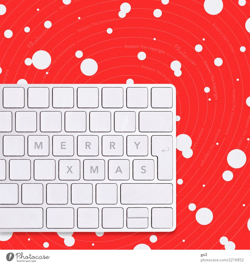 Merry Xmas Christmas & Advent Office work Workplace Computer Keyboard Hardware Technology Information Technology Internet Winter Ice Frost Snow Snowfall