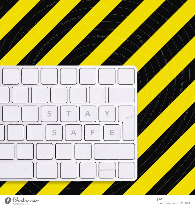 Black Yellow Leisure and hobbies Fear Office Characters Communicate Technology Future Computer Signage Threat Protection Safety Fear of the future Internet