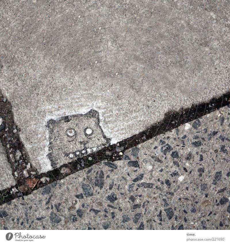 City faces. Goblin of St. Pauli. Animal Stone Concrete Line Brash Funny Gray Black Kobold Drawing Sidewalk Seam Tar Concrete slab Illuminate Diagonal Comic