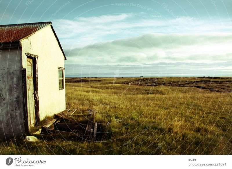house Far-off places Freedom House (Residential Structure) Nature Landscape Sky Clouds Horizon Meadow Deserted Hut Ruin Facade Window Door Old Loneliness