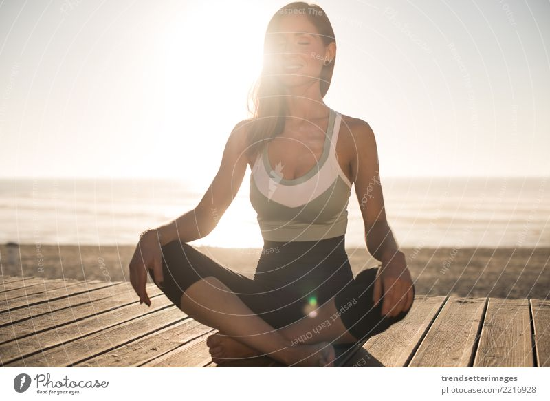 Women having a time meditating on the beach Diet Lifestyle Happy Beautiful Body Wellness Relaxation Meditation Vacation & Travel Summer Beach Ocean Yoga