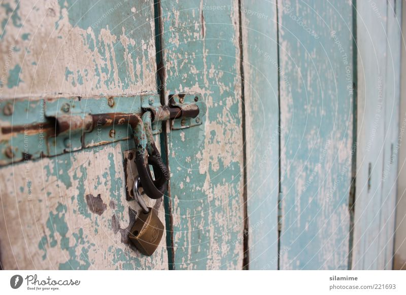 nostalgic bolt Wood Metal Steel Lock Key Old Near Retro Blue Brown Safety Protection Loneliness Emotions Past Colour photo Exterior shot Close-up Detail