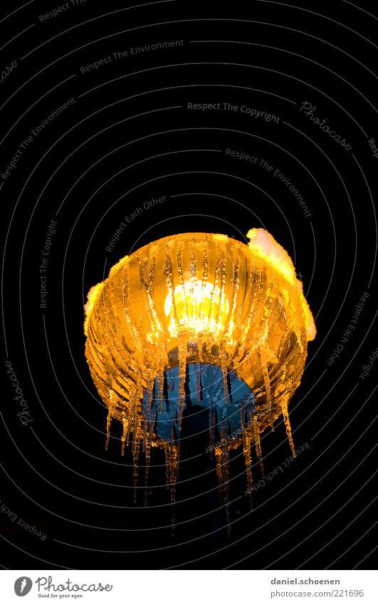 Winter Black Yellow Lamp Dark Ice Frost Climate Illuminate Lantern Street lighting Icicle Night Nature