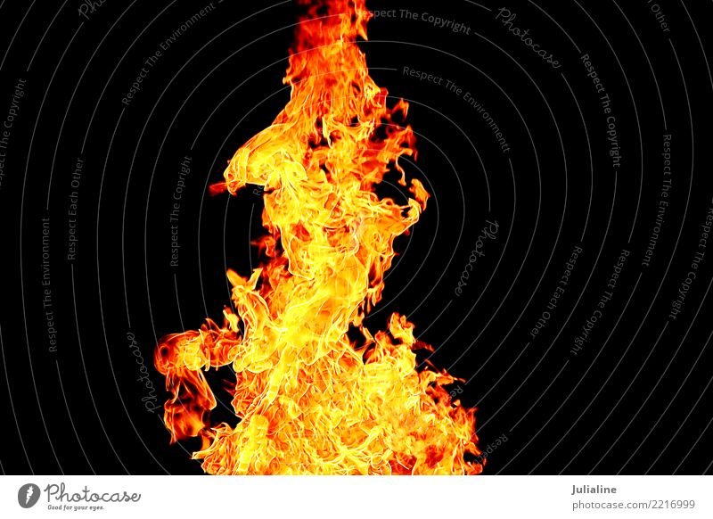 red flame on the black background Environment Bright Yellow Red Black Colour fire heat burn Inferno orange burnt blazing Hell danger glowing light Bonfire
