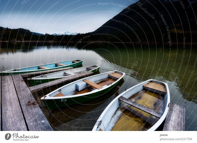 Nature Old White Green Blue Calm Black Far-off places Mountain Wood Lake Alps Idyll Footbridge Jetty Watercraft