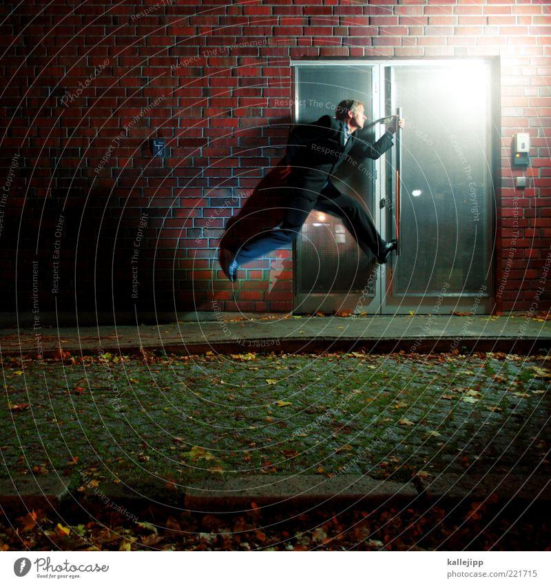 Human being Man Street Life Wall (building) Jump Wall (barrier) Adults Door Lighting Facade Running Speed Businesspeople Brick Suit